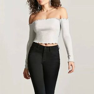 Forever 21 Silver Metallic Off The Shoulder Top L